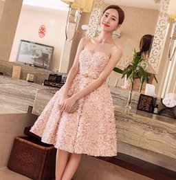 Cor de pêssego vestido de baile on-line-Navio rápido da Imagem Real cor Peach curto Vestidos de Baile 2019 Novas Meninas Vestidos de Festa ROBE de Soiree