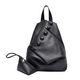 Wholesale Leather Backpack Camping - Fashion Women Backpacks Two Set High Quality Leather Backpack for Teenagers Girls School Bag Printing Backpack Mochila Feminina