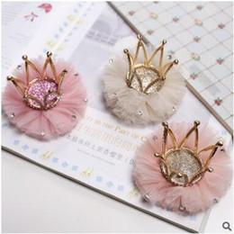 Wholesale Wholesale Diamond Barrette - Girl's fashion shiny gauze diamond crown princess edge clips hair clips five colors can choose