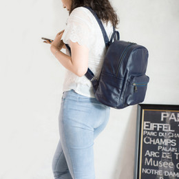 Wholesale Tow Soft - Head Layer Cowhide Backpack Both Men And Women Two Color Tow Size Simple Student Bag Travel STARK BACKPACK