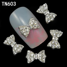 Wholesale Nail Art Jewelry Bows - Wholesale- 10pcs Alloy Glitter 3d Nail Bows Art Decorations with Rhinestones ,Alloy Nail Charms,Jewelry on Nails Salon Supplies TN603
