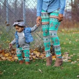Wholesale High Waist Kids Trousers - Mom Kids Leggings Women Baby Christmas pants Santa Snowflake Snowman print Trousers Slim casual tigths pants