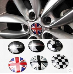 Wholesale Mini Door Stickers - Styling Jack Union Checker Wheel Center Hub Cap Stickers Emblem 52MM for MINI Cooper One S R55 R56 R57 R58 R59 R60