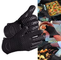Wholesale Silicone Gloves Cooking - food grade Heat Resistant thick Silicone Kitchen glove oven BBQ Grill 1pcs