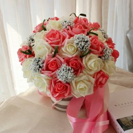 Wholesale Cheap Red Bridal Bouquets - 2017 Cheap Bridal Bouquets Ribbon Leaf Shaped Pink Red Blue Rose Decorations Hybrid Artificial Wedding Flowers 4 Colors Free Shipping