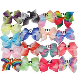 XIMA 4'' Grosgrain Ribbon Hair Bows with Alligator Hair Clips Boutique Rainbows Bows Girls Hairbow for Teens Gift 17pcs lot Deals