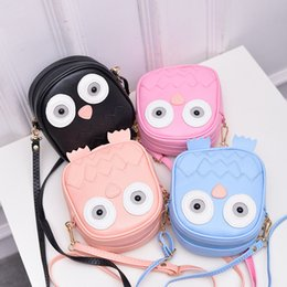 Wholesale Owl Print Ribbon - New children shoulder bag leisure travel backpack cartoon owl Mini candy color mobile phone bag bag