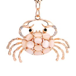 Wholesale Rings For Men Opal - Pretty Chic Opals Crabs Keychain For Women Bag Pendant Key Chain Christmas Gift Jewelry Car Key ring llaveros PWK0619