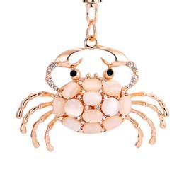Wholesale Opal Pendant Men - Pretty Chic Opals Crabs Keychain For Women Bag Pendant Key Chain Christmas Gift Jewelry Car Key ring llaveros PWK0619