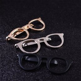 Wholesale Tie Clips For Women - Fashion Jewelry Tie clips Gold Silver Black Hollow Glasses Brooch Vintage Brooches For Women Lapel Pin Men Broches accessories gift