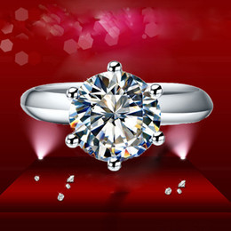 Wholesale Solid White Gold Wedding Rings - Classical Solid 925 Sterling Silver Women Ring With Simulated Diamond Solitaire Ring For Wedding