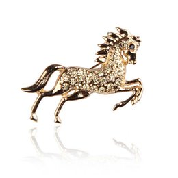 Wholesale Crystal Safety Pins - Real Animal Horse Brooch For Victory Full Crystal Safety Pins Brooch Jewelry For Clothes Accessory Christmas Gift