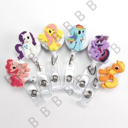 Wholesale Retractable Key Clip - 6pcs Cute Cartoon Colorful Horse Retractable Pull Key ID Card Clip ID BUS Card lanyards id Badge Holder With Metal Clip Easy to Use