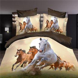 Wholesale 3d Doona Covers - Wholesale-3d horse bedding set duvet doona cover bed sheet pillow cases 4pcs queen size velvety bedclothes