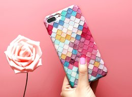 Wholesale Sexy Girl Iphone Cases - 2017 Modern Colorful Cute Grid Phone Case for iPhone 5s 7 6 5 6s for APPLE iPhone 7 6 6s Plus Case Sexy girl Cover Capa