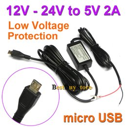 Wholesale Car Charger Dc 5v 2a - Wholesale- New Car Charger DC Converter Module 12V 24V To 5V 2A with micro USB Cable Low Voltage Protection Cable Length 3.5m 11.4ft #D-2
