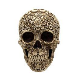 Cranio resina halloween online-Resina Fiori Cranio Realistico Scheletro Umano Gotico Halloween Decorazione Orribile Teschio Testa Ornamento