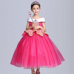 Wholesale Silk Bow Dress - Princess Dress costumes dress 2017 new Aloe Princess dress baby Birthday Party Dresses children Halloween costumes Girl's Dresses