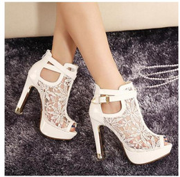 Wholesale Open Toe Gladiator Boots - New buld silk lace wedding boots white bridal pumps thick heel pink bride shoes 3 colors size 34 to 39 WX