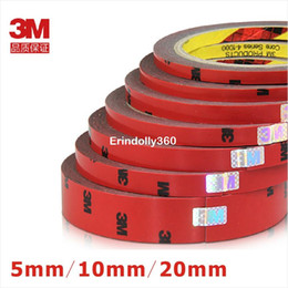 Wholesale Foam Adhesive Glue - 5pcs lot 3M Double faced Acrylic Foam Adhesive 3 meters Long Tape 5 10 20mm Auto Special Sponge Puffs Glue car decals decoration