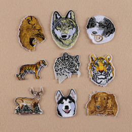 Wholesale Wholesale Jean Patches - 10pcs Dog Tiger Stickers Jacket Patch For Clothing Iron On Patches parches Embroidered Jean Apparel Garment Decoration Motif Badge Appliques