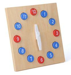 Jouets en bois mobiles en Ligne-Nouveau Jouet en bois bébé Montessori Horloge avec des mains mobiles en bois Classique Enfance Éducation Préscolaire Formation Enfants