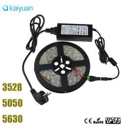 Wholesale Flat G - Professional sale full set 5M 3528 5050 5630 Warm  Cool White  R G B 300led SMD DC12V LED Strip Light Waterproof strips+ Adapter