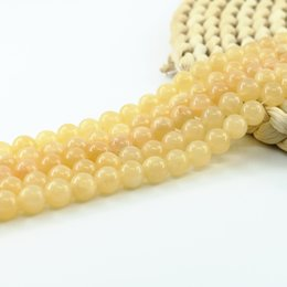 Wholesale Gemstone Strands - Nature Yellow Jade Beads Supplies Semiprecious Gemstone Beads for DIY Jewelry Making 4 6 8 10mm Full Strand 15 inch L0155#