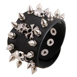 Wholesale Skulls Spike Rivets - Unique Rock Spikes Rivet Gothic Skeleton Skull Punk Biker Wide Cuff Leather Bracelet G46