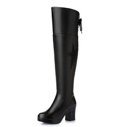 Wholesale Tall Canister Boots - High quality women all cowhide Martin boots Oxford bottom frenum tall canister boots genuine leather big size fashion boots