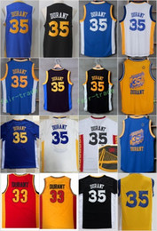 Wholesale Vintage School - 2017 Cheap Durant Basketball Jerseys Throwback Chinese High School Oak Hill 35 Kevin Durant Jersey Vintage Blue Black White Yellow Red
