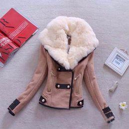 Wholesale Wollen Coats - Wholesale- 2016 Hot sale Fashion New Brand Plus Size S-XXL Zipper Slim Solid Coat Jacket Women Wollen Casual Jacket Winter Autumn B37