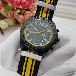 Wholesale Designer Men Watches Automatic - Sport AAA watches men luxury brand Designer CR7 3 Eyes work Automatic Date Quartz Stopwatch Nylon band Wrist watches for men's Wholesale