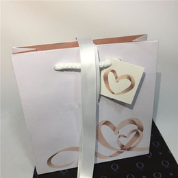 Wholesale Heart Earring Display - With Little Heart Paper Cardboard Bag With Ribbon Replacement Package Display European Style for Pandora Charm Bead Earrings Dangle Pendant