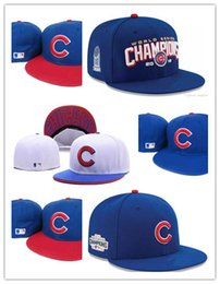 Wholesale Blue Wool Flat Cap - New Arrival fashion style Flat Visor Chicago Cubs Baseball Fitted Hats Sport Flat Full Closed Caps Bones Red C logo Blue Color Free Shipping