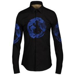 Wholesale Mens Dragon Dress Shirts - Wholesale- Blue Chinese Dragon Embroidery Men Shirt 2017 Luxury Brand Mens Dress Shirt Formal Chemise Homme Slim Fit Camisa Masculin Black