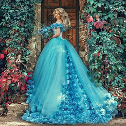 Wholesale Pink Masquerade Prom Dresses - 2017 Blue masquerade Ball Gown Quinceanera Dresses with Handmade Flowers Off the shoulder Court Train Tulle Prom sweet 16 Dress