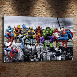 Wholesale marvel canvas - MARVEL SUPERHEROES ON A BEAM,Home Decor HD Printed Modern Art Painting on Canvas (Unframed Framed)