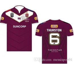 Wholesale Maroon T Shirts - Hot 2017 2018 NRL National Rugby League Australia Queensland QLD Maroons Rugby jersey Johnathan THURSTON 6 jerseys 17 18 New Zealand t shirt