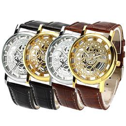 Wholesale Skeleton Dresses - Wholesale- 2016 Fashion Sports Dress Watch Roman Numerals Faux Leather Band Skeleton Analog Wrist Watches
