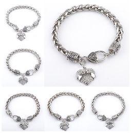 Canada 2017 Chaude Mode 925 Argent Plaqué Cristal Bracelet Amour Diamant pendentifs avec Alphabet Charme Bracelets pour MOM SISTER MIMI NANA bijoux supplier mom sister charm Offre