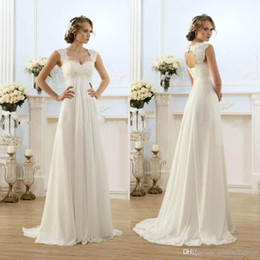 Wholesale Pregnant Wedding Dresses Cheap - in stock New Romantic Beach A-line Wedding Dresses Cheap Maternity Cap Sleeve Keyhole Lace Up Backless Chiffon Summer Pregnant Bridal Gown