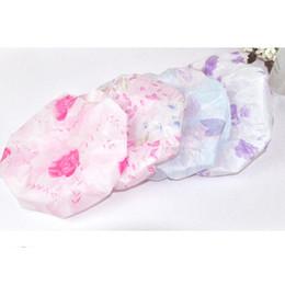 Wholesale Plastic Shower Accessories - Wholesale- 2015 Lace Flower Printing Elastic Shower Caps Plastic Waterproof Spa Bathing Hair Cap Hat Bathroom Accessories For Women Ladies