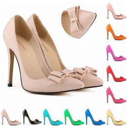 Wholesale Teal Bows - Sapatos Femininos Fashion Women Bow Shoes High Heels Corset Pumps Party Court Dress Shoes Size Us 4-11 EUR Size 35- 42 D0016