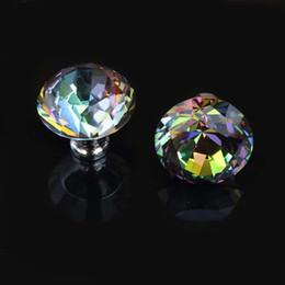 Ручки из горного хрусталя онлайн-Диаметр 40 мм Цветное стекло кристалл выиграть шкаф ящик ручки тянет серебряный горный хрусталь кухонный шкаф шкаф дверные ручки ручки