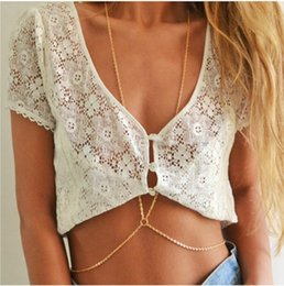 Wholesale Hot Summer Jewelry - Hot Sexy Gold Body Chain Fashion Simple Summer Beach Jewelry Bikini Belly Chains Link Sexy Necklace For Women Gift