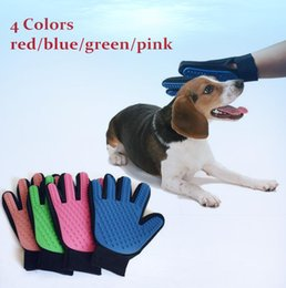 Wholesale Deshedding Brushes - Pet Gloves True Touch Deshedding Glove Pet Hair Cleaning Tools Massage Removal Dedeshing Dog Grooming Bath Dog Brush Comb D798 100