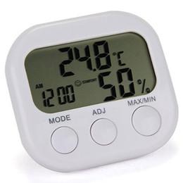 medidor digital de la temperatura del termómetro Rebajas Nuevo 2017 Estación meteorológica LCD Termómetro digital Higrómetro Temperatura Humedad Medidor Medidor con reloj