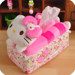 Wholesale Cloth Covered Storage Boxes - Wholesale- Kawaii Hello Kitty Rose Pink Car Room Sofa Tissue Paper Storage Box Container Cloth Tissue Box Seating Holder Paper Bag Cover