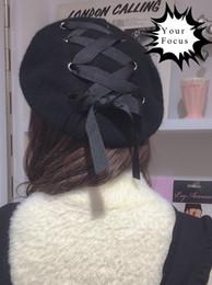 Wholesale Cowboy Hats Ribbon - Wholesale-2016 lolita kawaii punk rok harajuku vintage magazine style ring ribbon lacing bow wool hat women black berets